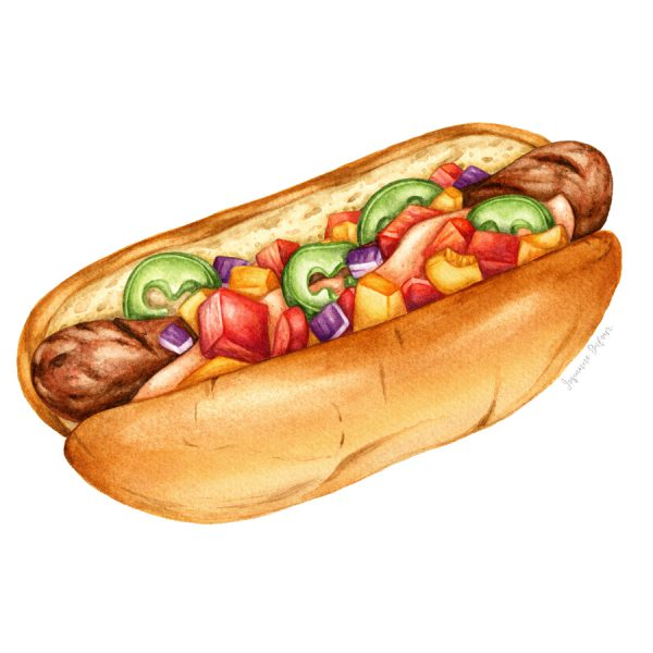 Hot dog with jalapenos and pepper