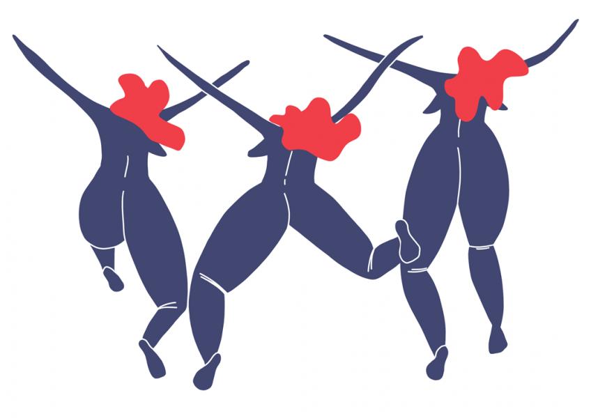 Dancing Women in a Jump