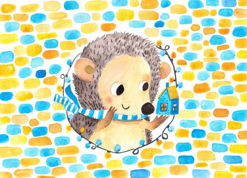 Illustration for chocolate box - hedgehog
