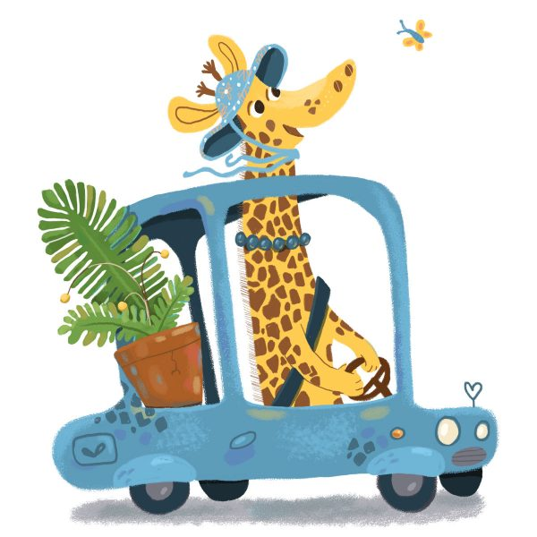 Lady Giraffe and her car