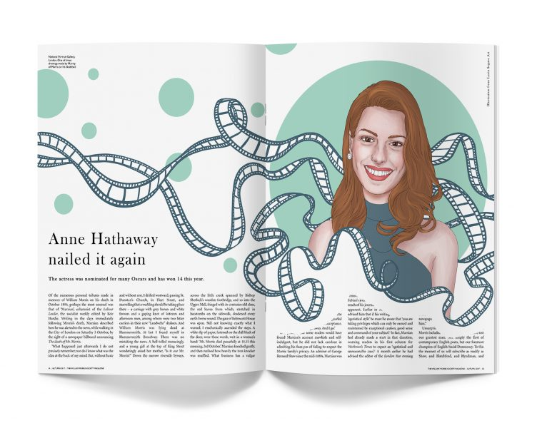 Anne Hathaway portrait for a full page illustration magazine. The illustration contains her figurative portrait and a movie film ribbon flowing through the air.