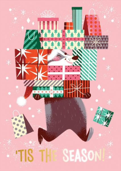 'Tis the Season Badger Greeting Card