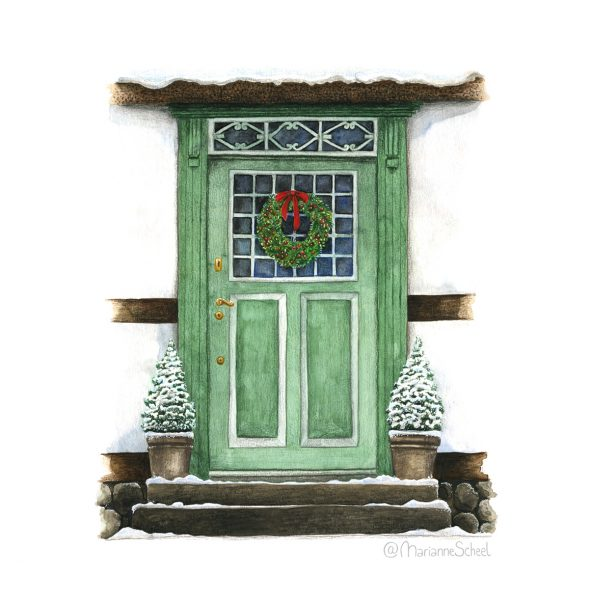 Old door with Christmas wreath