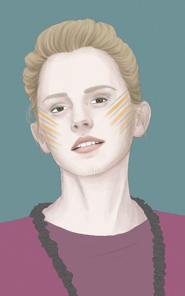 Emma Watson digital and figurative portrait. Celebrity, fashion.