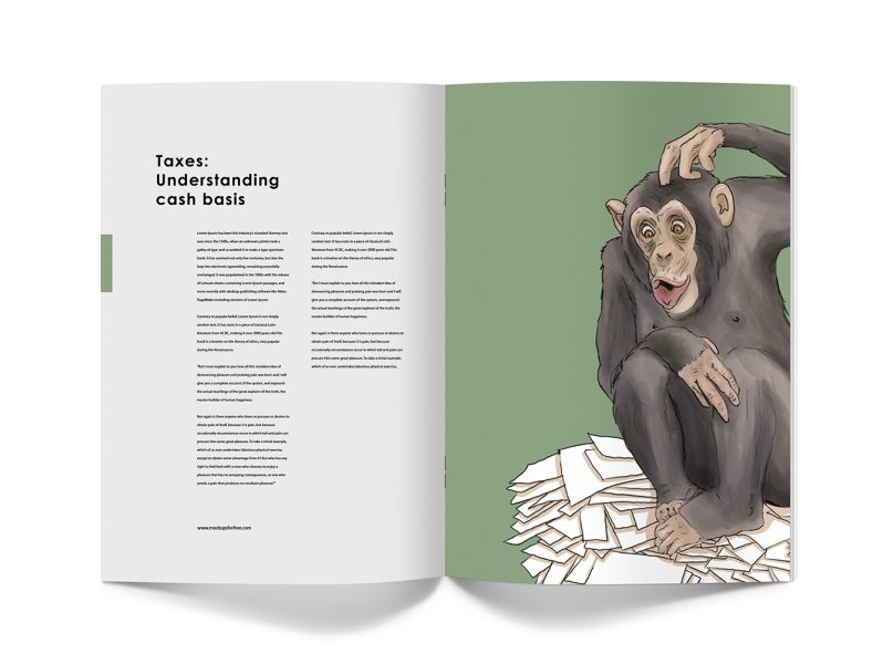 Monkey understanding taxes, in a mock up of a magazine. The illustration represent a monkey looking at a pile of papers and not being really sure of what does he have to do with them.