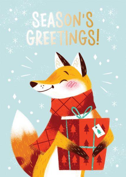 Seasons Greetings Fox Greeting Card