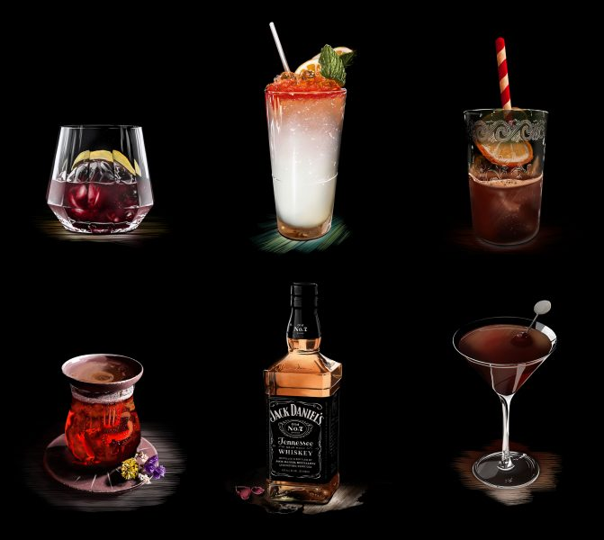 Client: Difford's Guide - Cocktail illustrations (advertising)