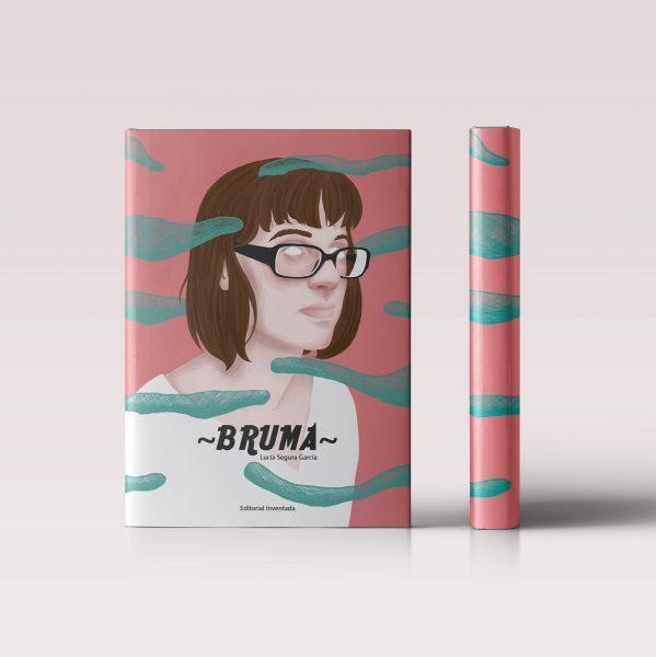 Bruma ( Mist ). Digital illustration of a woman portrait on a book cover mock up. It's an illustration regarding a fiction novel or a thriller.