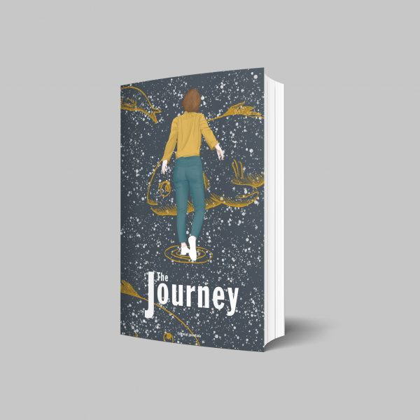 Journey. Mock up on a book cover for publishing. The illustration shows a back womans in the middle of the space, surrounded by big surreal and transparent fishes. It talks about the spiritual path we all do.