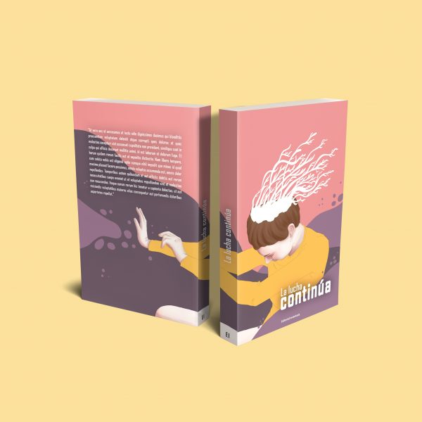 La lucha continua ( The fight continues ) on a book jacket mock up for publishing. It is a full illustration that occupy the front and the back of the book, showing a woman with the head full of vegetables, fighting with something indescriptible.