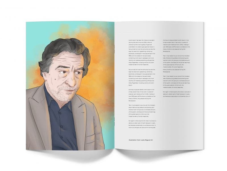 Robert de Niro portrait on a mock up of a magazine issue. The illustration is about one of his movies called The Family, where he and his family are from a mafia trying to hide.