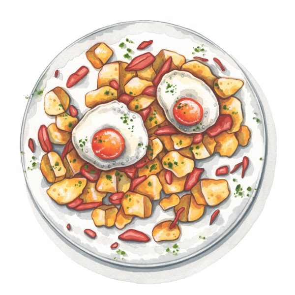 Potato, ham and egg hash illustration for Style of Wight magazine