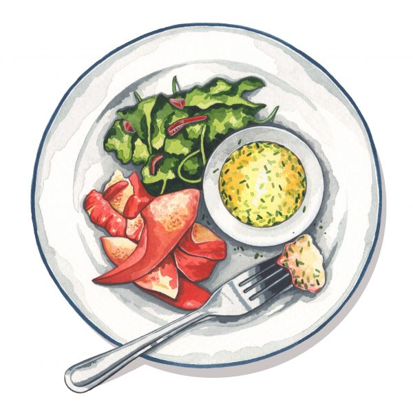 Lemon and herb lobster illustration for Style of Wight magazine