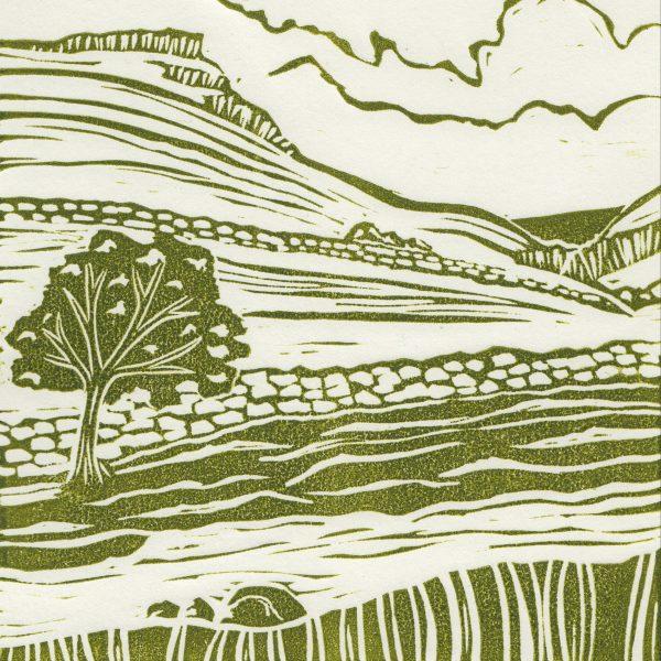 Goredale Scar linocut print