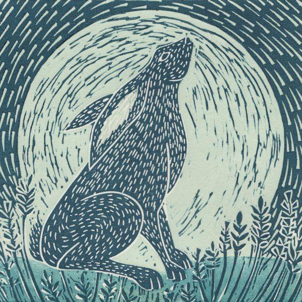 Moon gazing hare linocut print