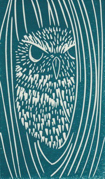 Little Owl linocut print