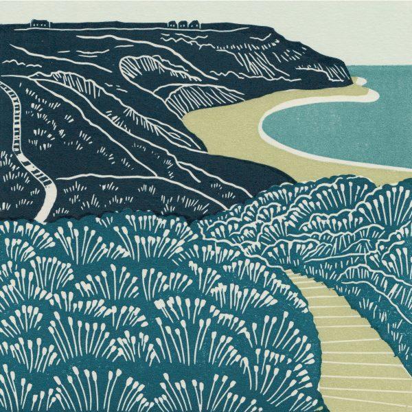 Port Mulgrave linocut print