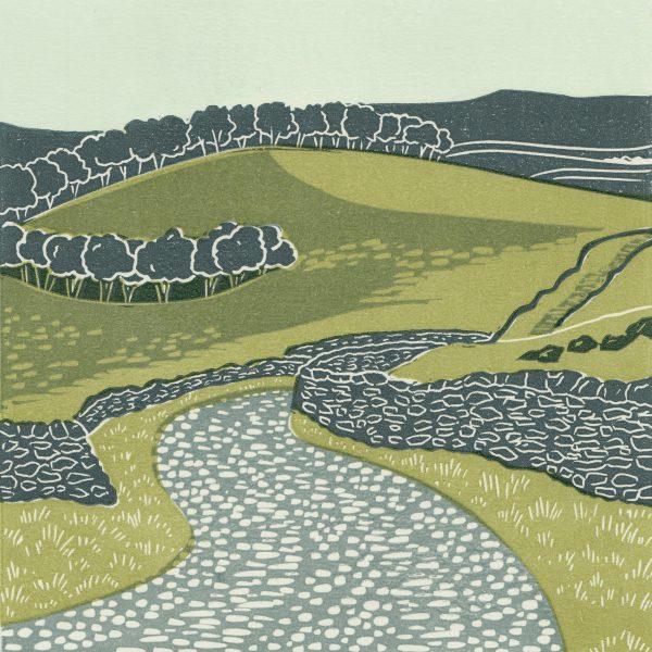 Ribblesdale linocut print