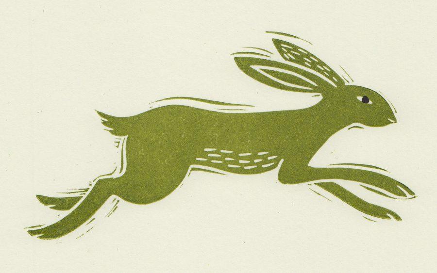 Running hare linocut print