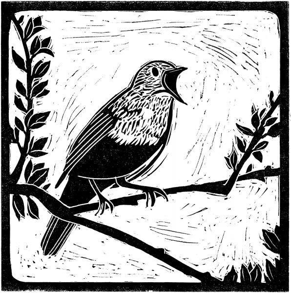 National Trust's Sutton Hoo nightingale bird linocut