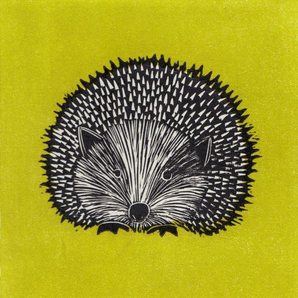 Hedgehog linocut print