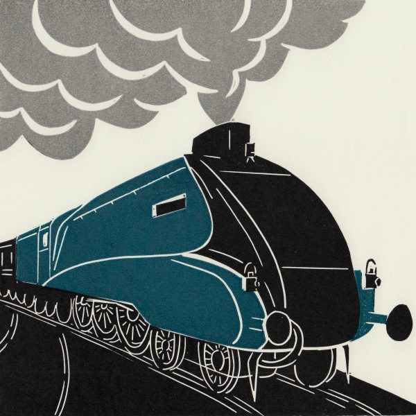 Mallard Steam train linocut print
