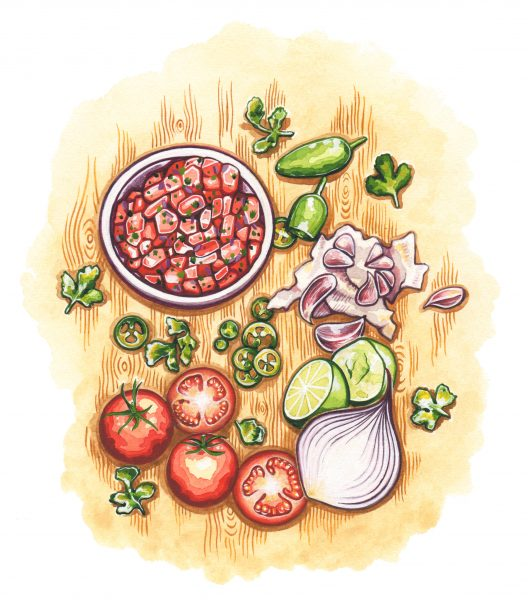 Tomato salsa illustration for Style of Wight magazine