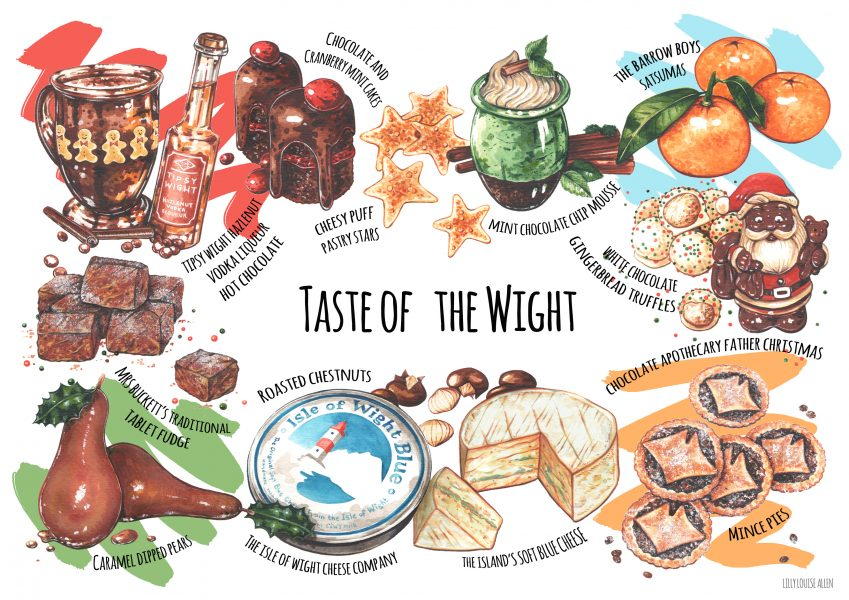 Christmas food illustration for Taste of the Wight Magazine