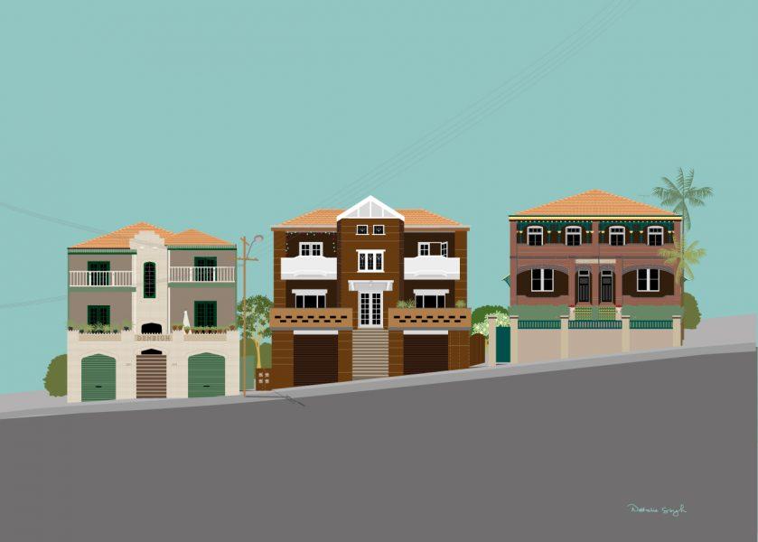 Clovelly Rd 3 houses on hill