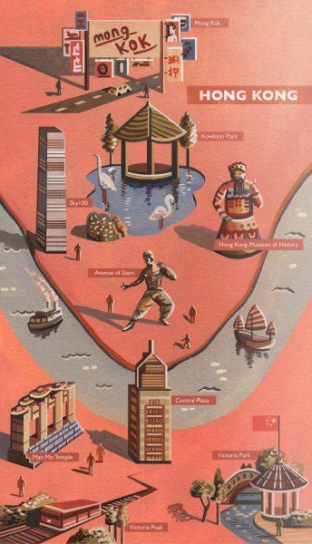 Hong Kong Map Illustration