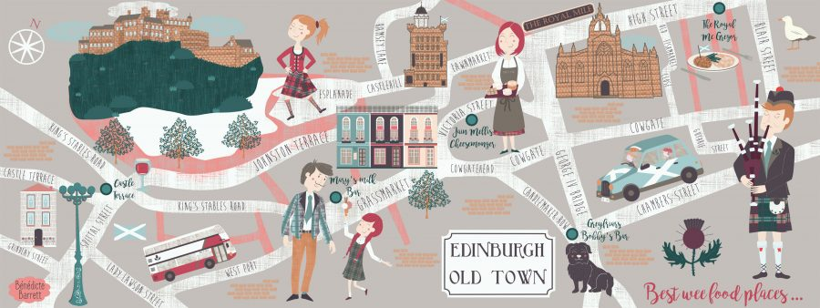 iluustrated map of edinburgh old town