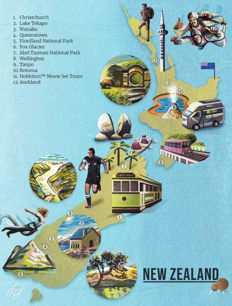 New Zealand Map Illustration