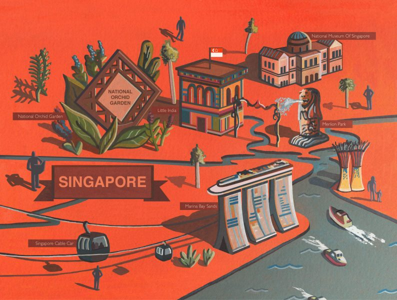 Singapore Map Illustration