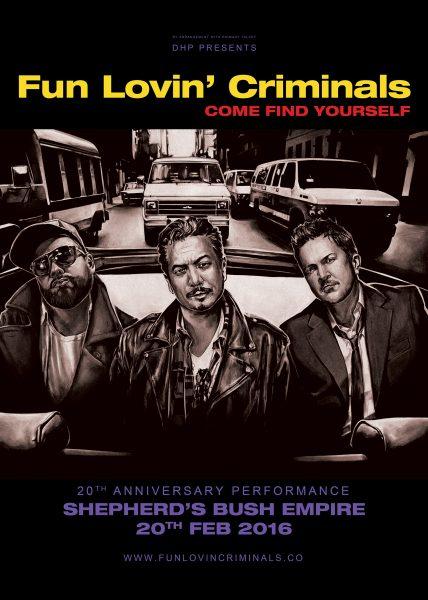 Fun Lovin' Criminals 20th Anniversary gig poster