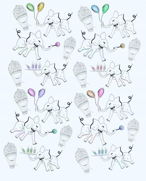 Elephants Baby shower Print