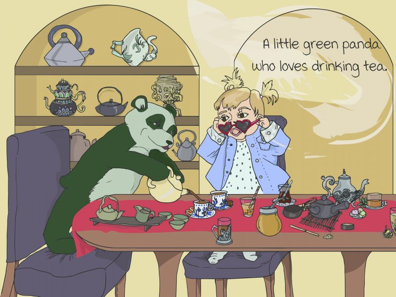 A little green panda who loves drinking tea.