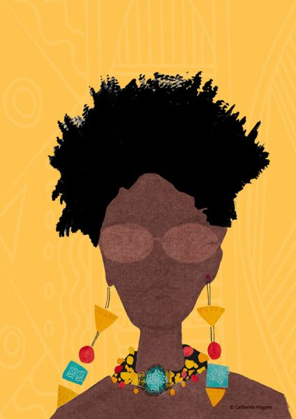 Black Woman with Beads - Face Illustration