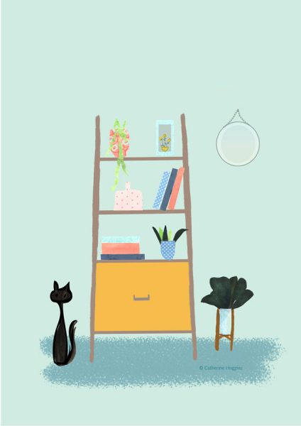 Interiors - Wall Unit bookcase with Cat