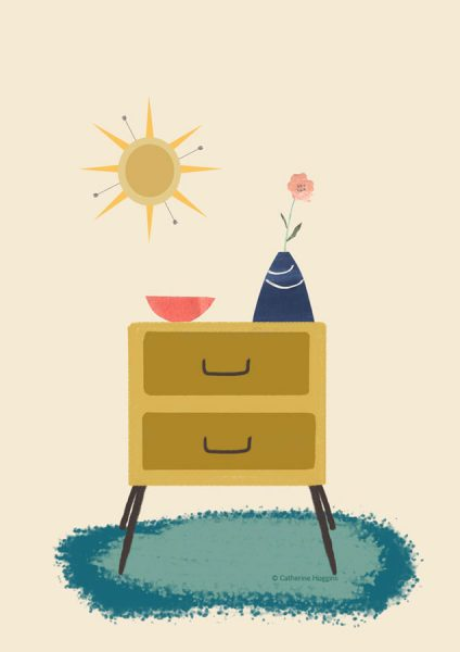 Mid Century Modern Chest of Drawers Illustration