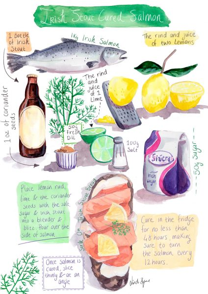 Illustrated Recipe Irish Stout Cured Salmon by Linda Byrne