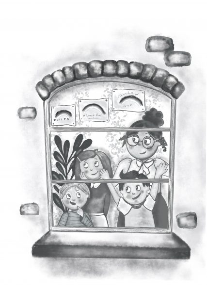 Mary Poppins- Black and White spot illustration