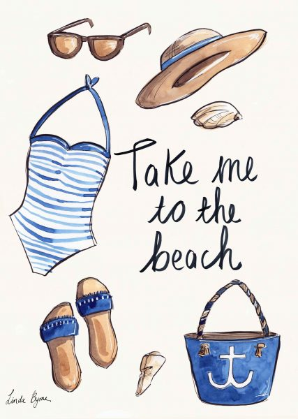 Editorial summer beach illustration