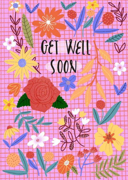 Get well soon greeting card design