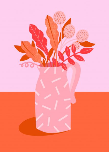 Pink Patterned Jug and Leaves
