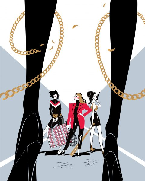 "Illustration for Forbes Woman Russia. The article's headline is ""The Dashing Women of the 1990-s."""