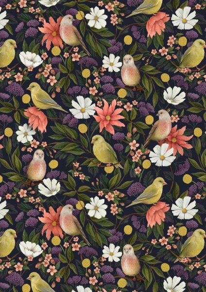 Greenfinch and linnet pattern