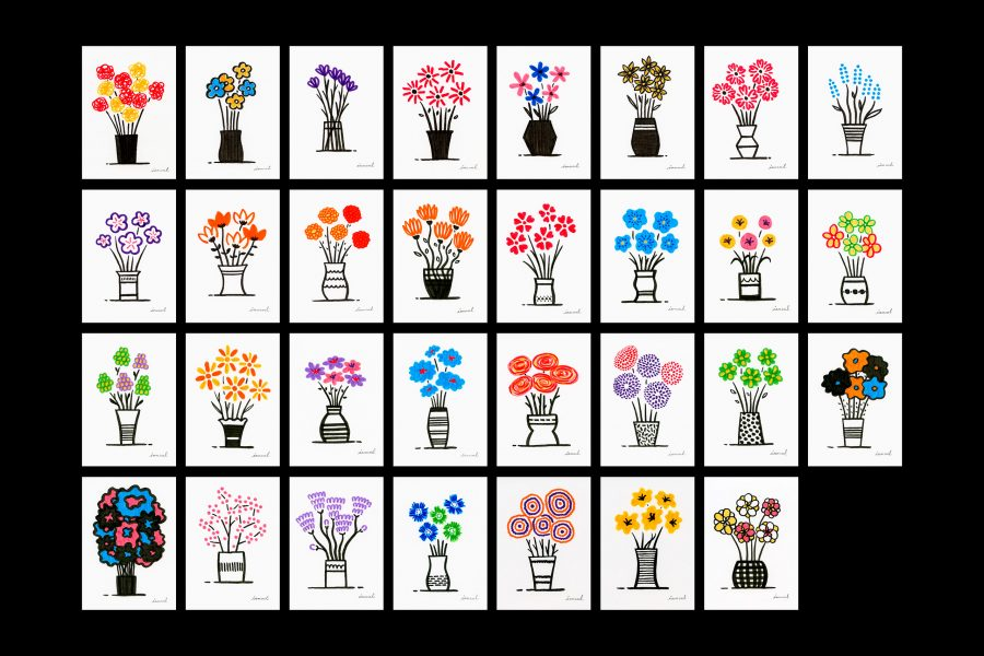 Flowers for her – one drawing every morning to make my loved one smile