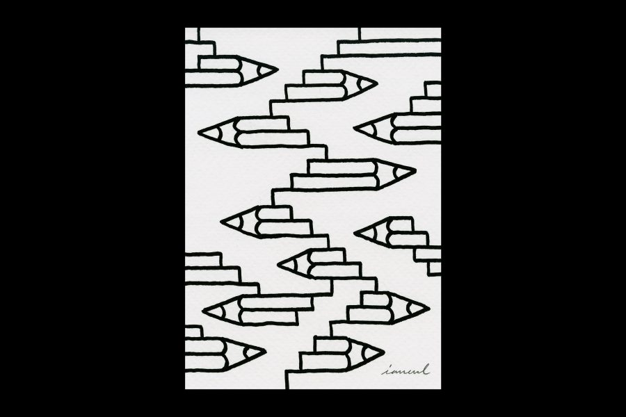 "Pencil stairs pattern – part of my ""Morning drawings"" series"
