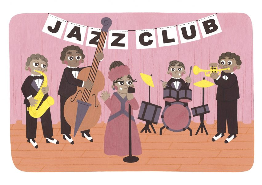 Ella Fitzgerald Jazz Band Illustration