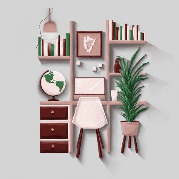Desk workspace illustration